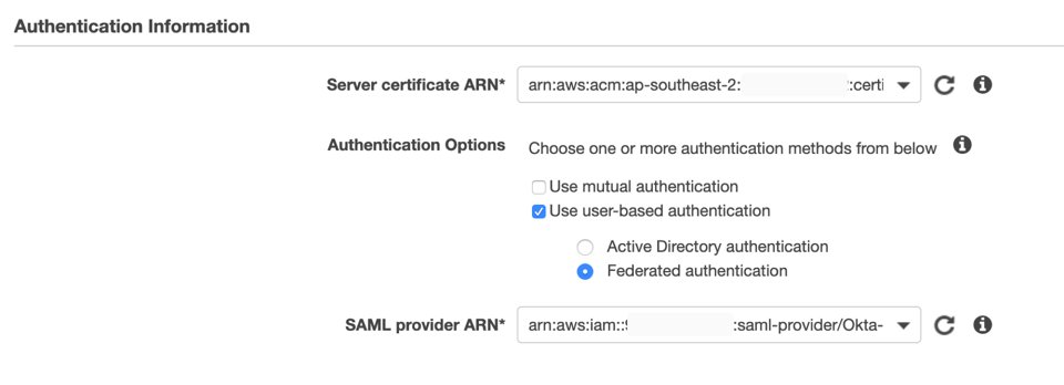 AWS console UI where auth information is entered