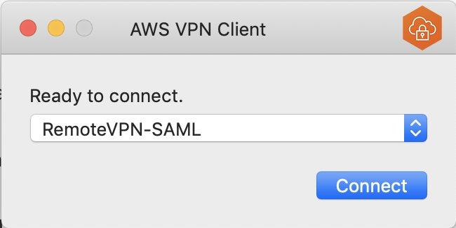 Mac OS UI of VPN client software, ready to connect, drop down with remotevpn-saml chosen