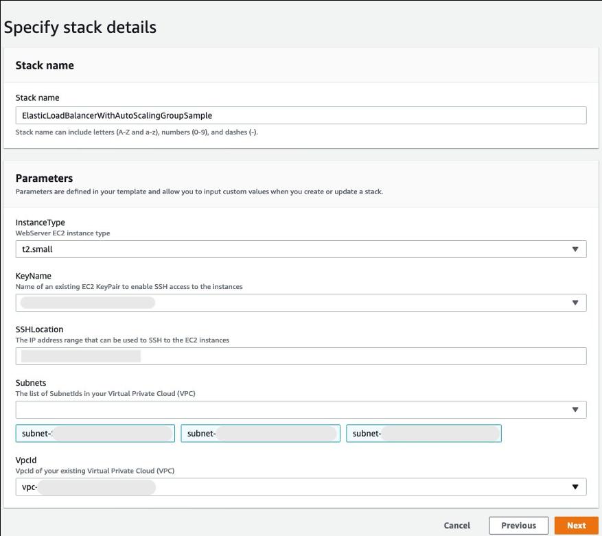 Specify stack details