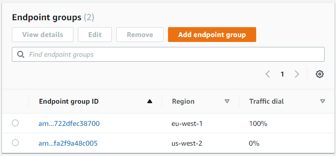 Accelerator with endpoint groups in EU-WEST-1 and US-WEST-2 having 100% and 0% as traffic dials