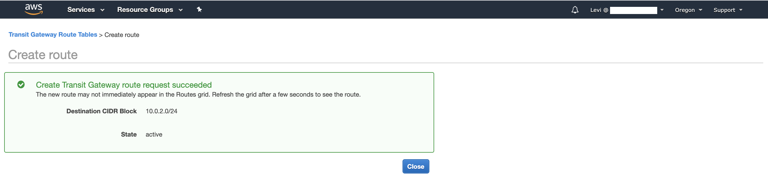 Successfully added AWS Transit Gateway Route