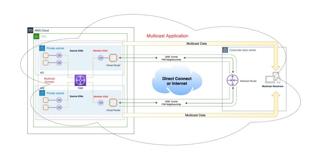 Logical topology with multicast sources in AWS cloud