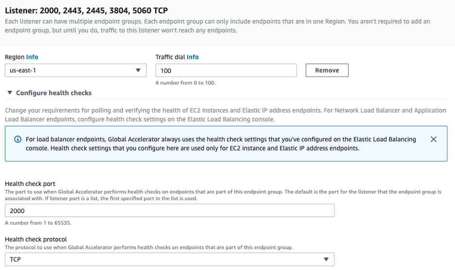 AWS Global Accelerator Setup - Endpoint groups