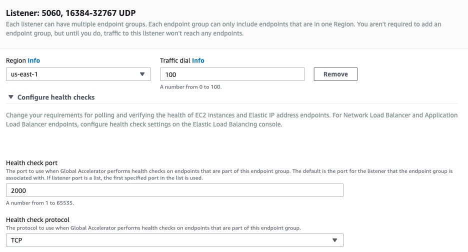 AWS Global Accelerator - Endpoint groups UDP