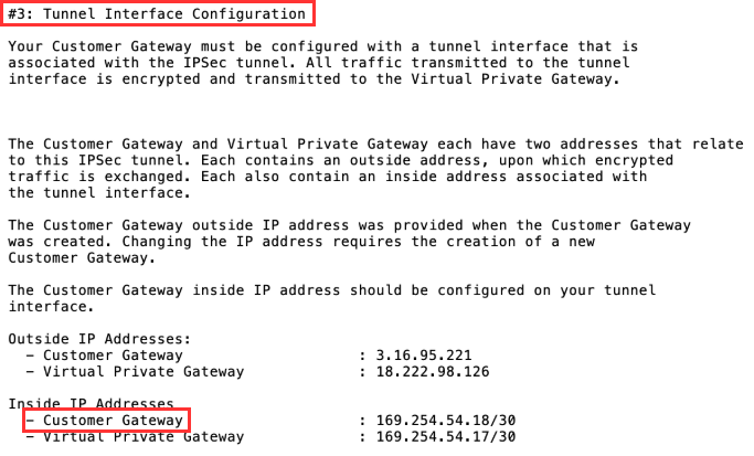 Site-to-site VPN connection configuration file example highlighting customer gateway inside IP address setting