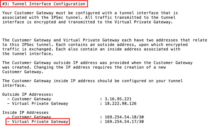Site-to-site VPN connection configuration file example highlighting virtual private gateway inside IP address setting