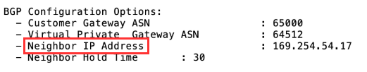 Site-to-site VPN connection configuration file example highlighting neighbor IP address setting