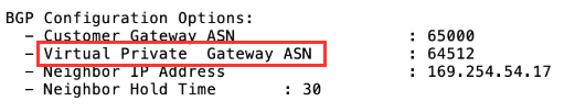 Site-to-site VPN connection configuration file example highlighting virtual private gateway ASN setting