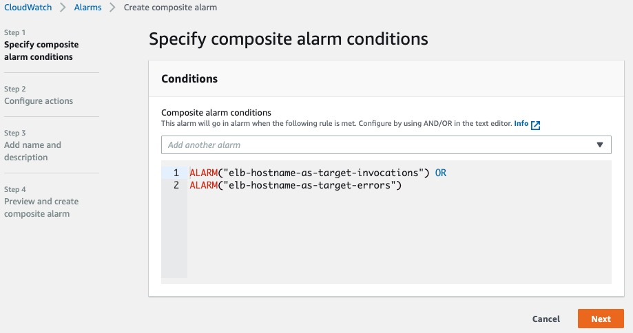 Screen shot for creating composite alarm for elb-hostname-as-target Lamda function