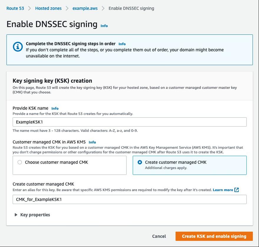 Key signing key (KSK) creation