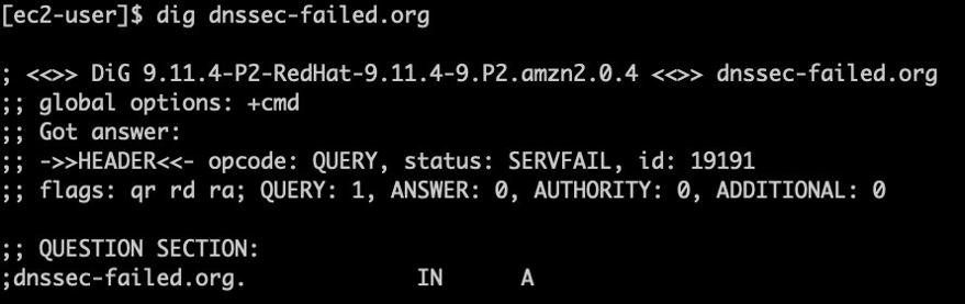 Testing DNSSEC using dig dnssec-failed.org