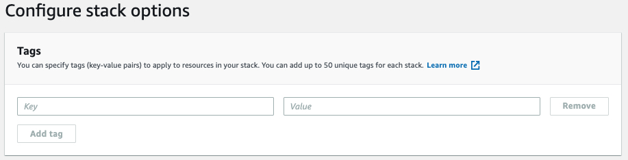 Screen Shot showing AWS CloudFromation Console's step 3, add tags, optional.