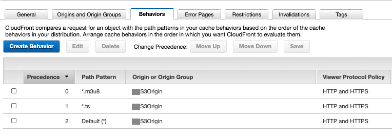 Screen shot showing CloudFront Cache Behaviors for manifest and segments file extensions.