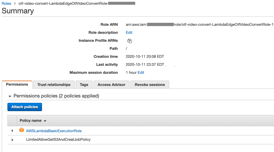 Screen shot showing Lambda at Edge role policies including lambda basic role, and inline policy.
