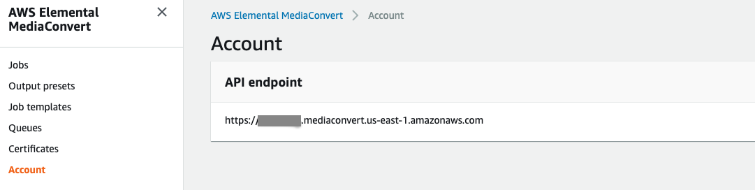 Screen shot showing MediaConvert API endpoint in us-east1, in MediaConvert console.