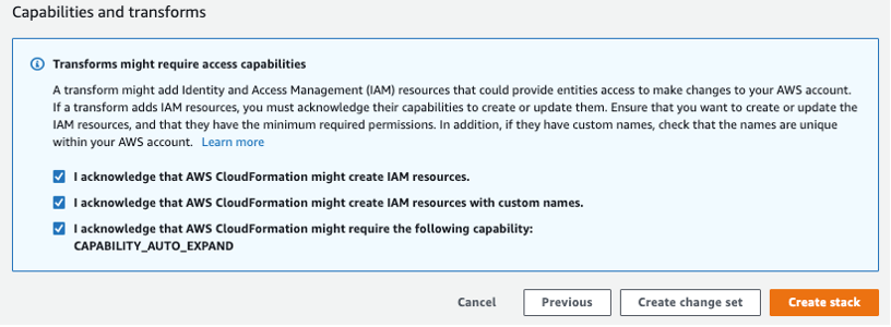 Screen Shot shows AWS CloudFromation Console's step 4, acknowledge configuration, and click create stack.