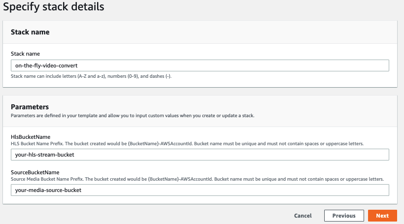 Screen Shot showing AWS CloudFromation Console's step 2, provide bucket name.