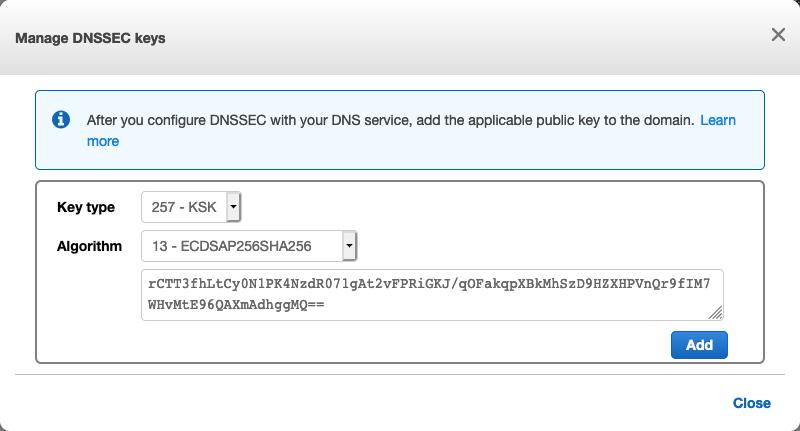 Manage DNSSEC keys