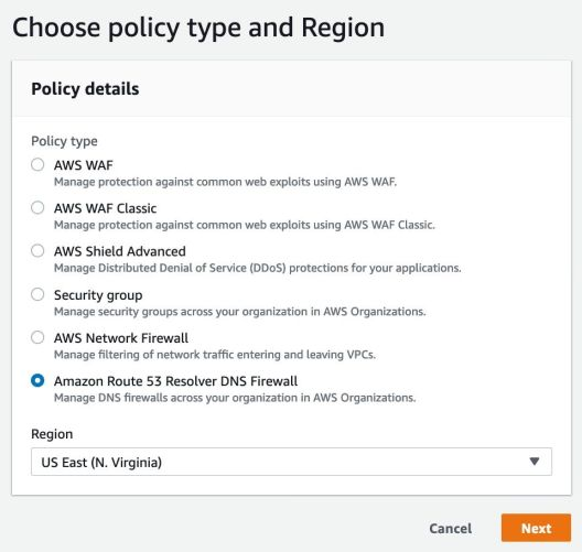 Choose a Policy Type and Region