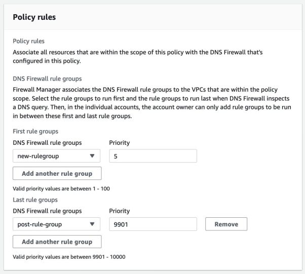 DNS Firewall Policy Rule Groups and Priority