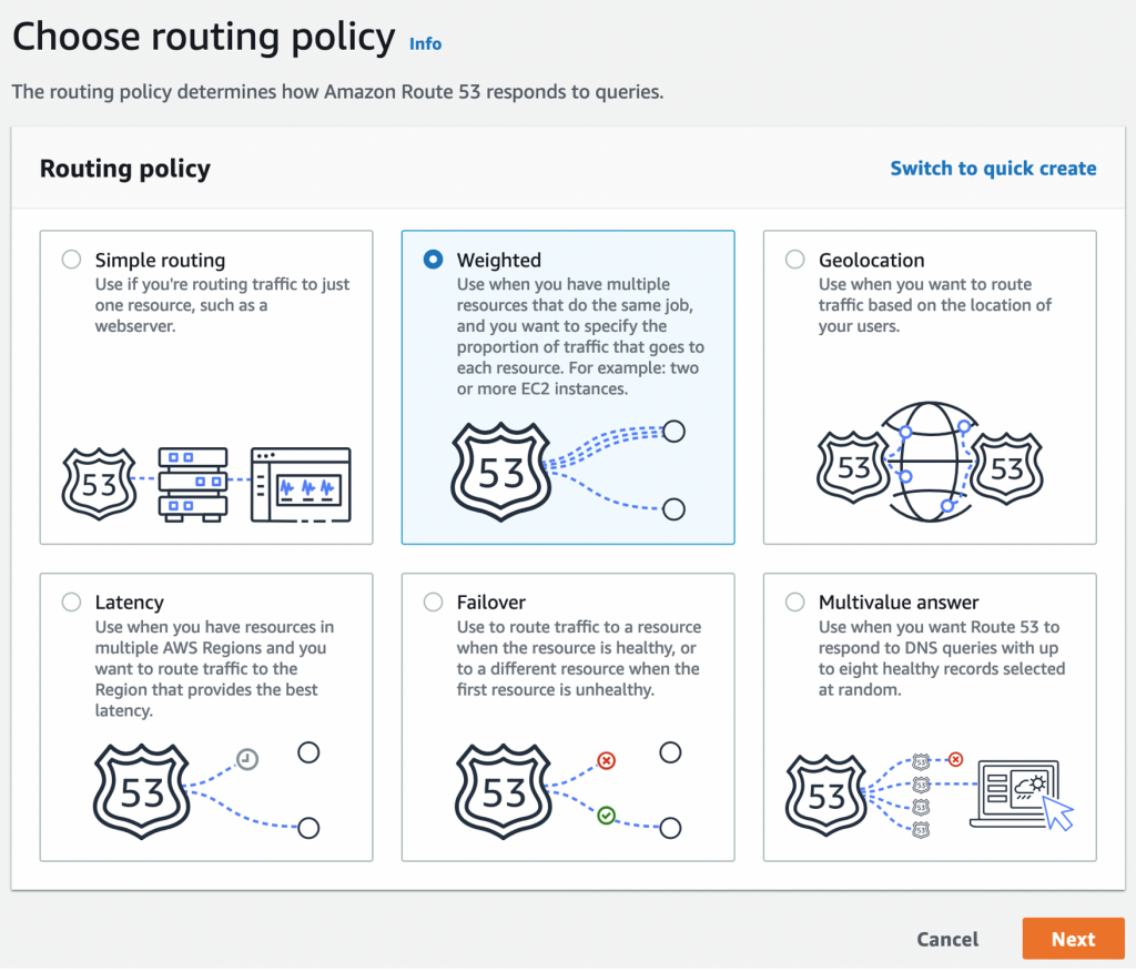 A snapshot from AWSS console in Route53 page showing routing policy options.