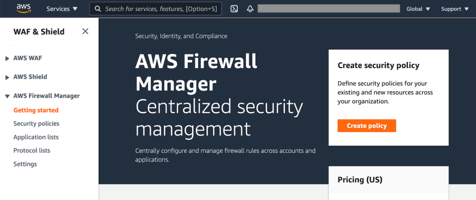 Figure 6: Getting started with the AWS Firewall Manager