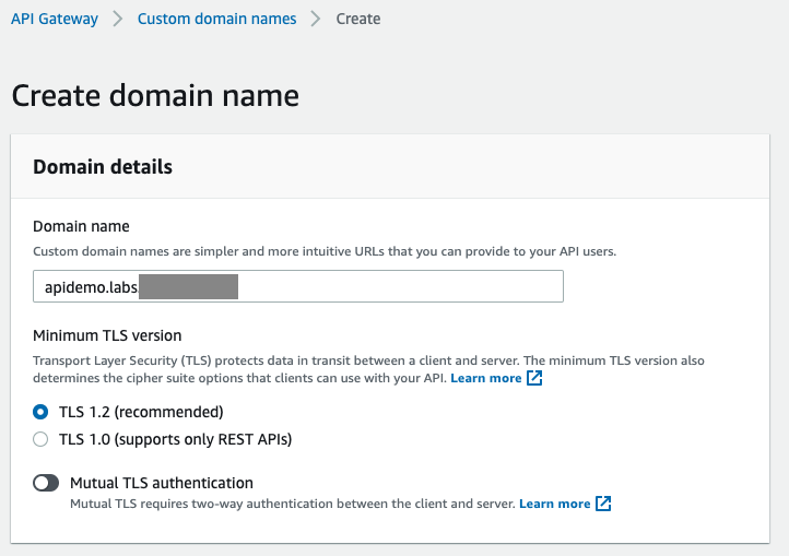 New domain name is created in API Gateway service; Endpoint type is set to 'Regional', custom ACM certificate is selected