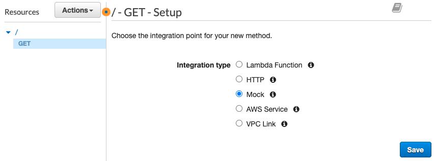 Mock option is selected for GET method in API Gateway Setup configuration