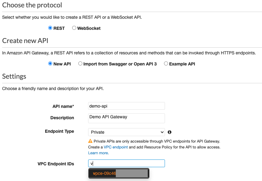 Specifying VPC Endpoint IDs under Settings of a Private API Gateway Endpoint