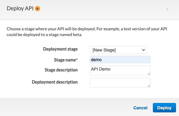 API Gateway 'demo' stage is specified for an API Gateway deployment