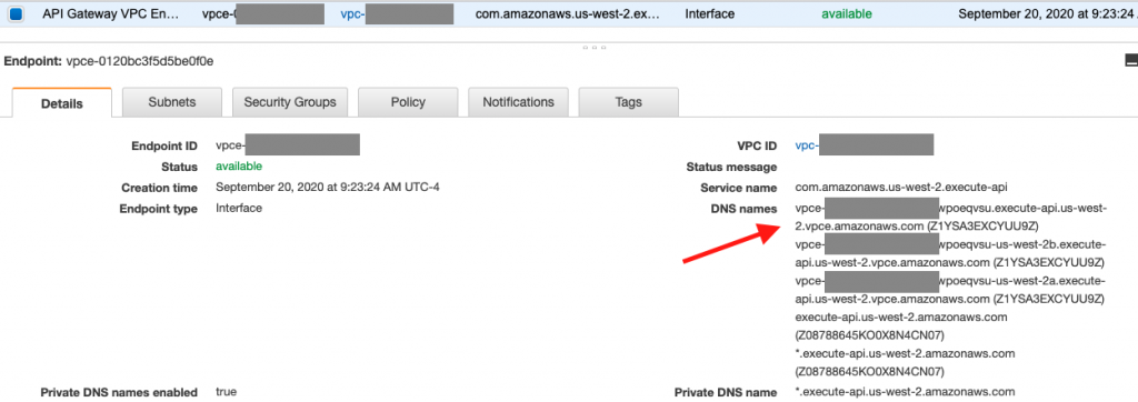 NS names are listed under Details tab of an API Gateway VPC Endpoint