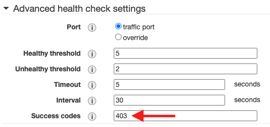 Success code is set to 403 in advanced health check settings; other parameters are set to default values