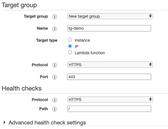 An IP Target group with default Protocol, Port, and Protocol version parameters is created
