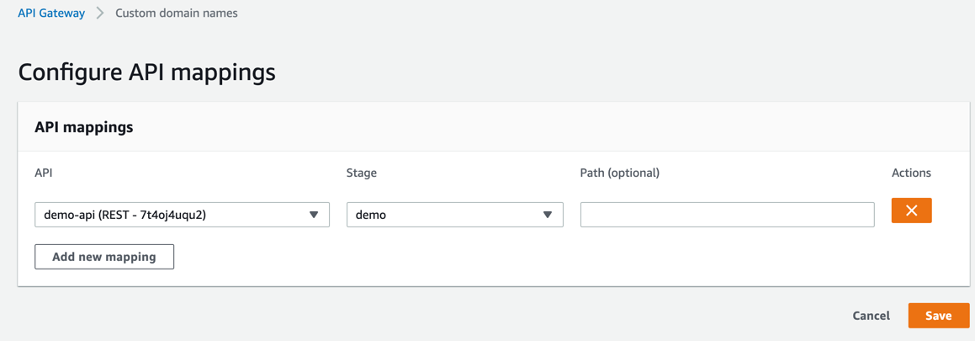 'demo-api' is mapped to the 'demo' stage in custom domain names configuration of the API Gateway