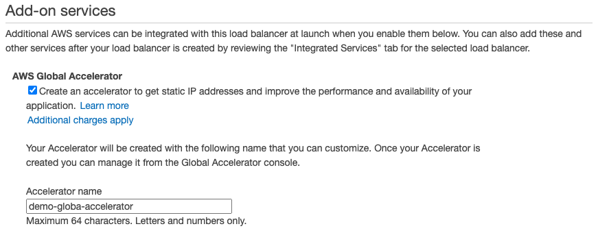'Create an accelerator' option is selected under AWS Global Accelerator add-on service of an ALB