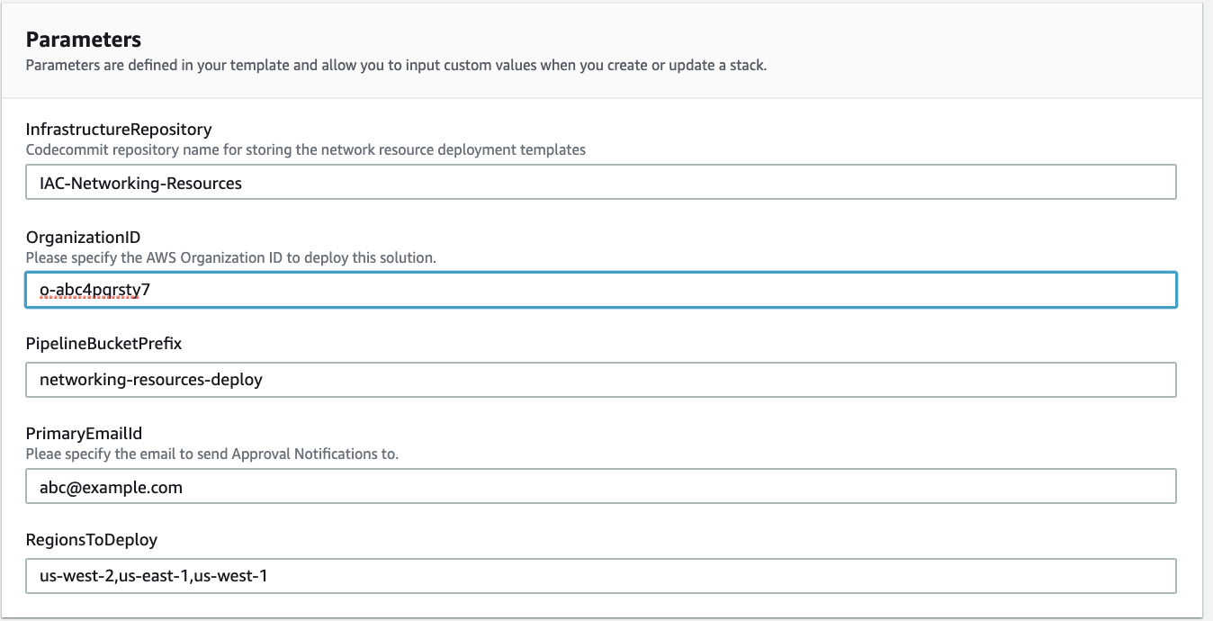 An example of parameters for cloudformation template that provisions a pipeline to manage networking resources in a multi-region, multi-account setup.