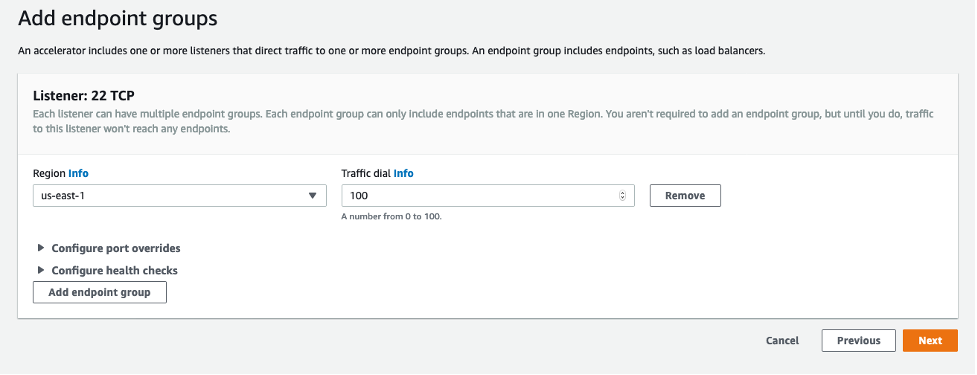Endpoint groups configuration screenshot
