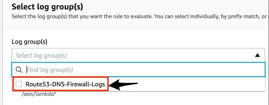Image showing selecting Log groups