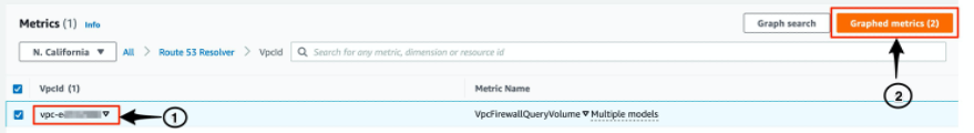 Image showing CloudWatch VpcId Metric config