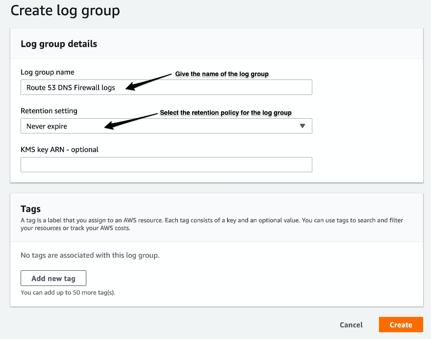 Image showing creating CloudWatch Log group