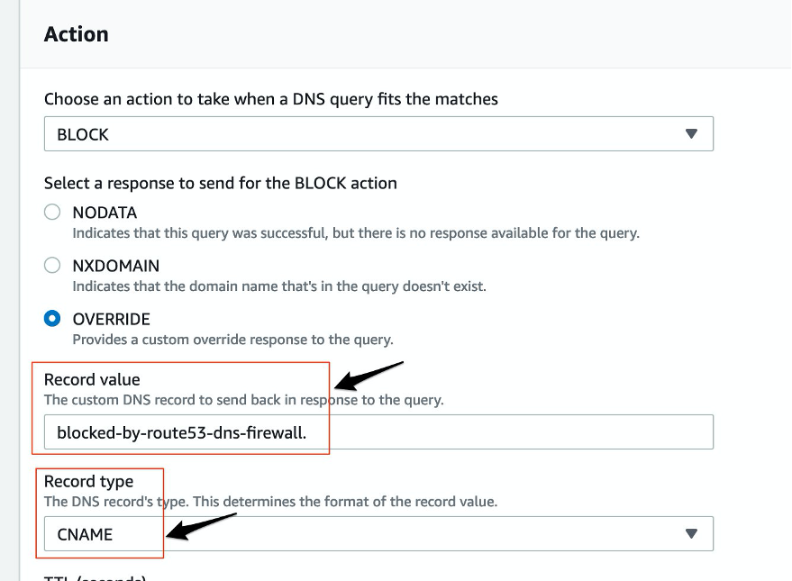 Image showing Route 53 DNS Firewall block policy details