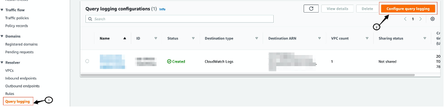 Image showing Route 53 DNS Query logging setup