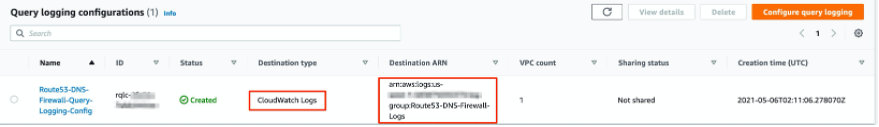 Image showing Route 53 DNS Firewall query logging details