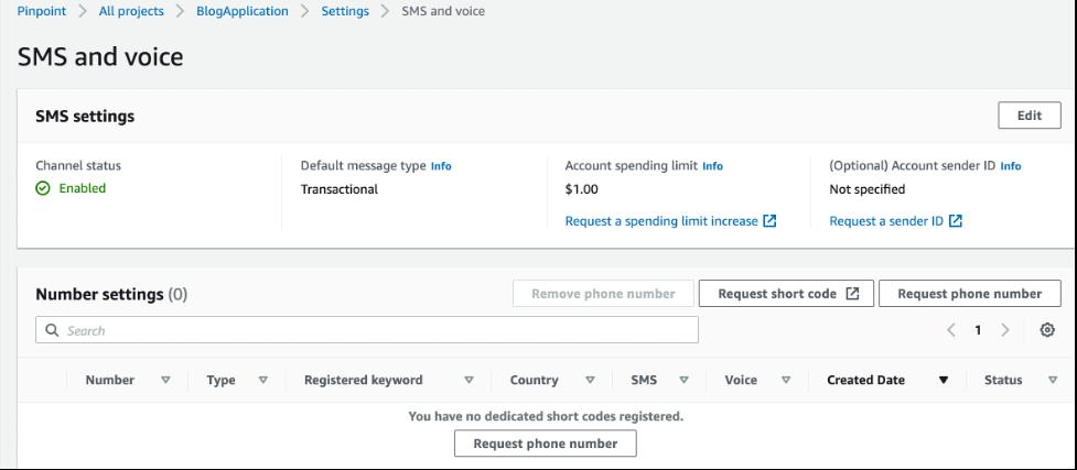 Screenshot of request phone number screen