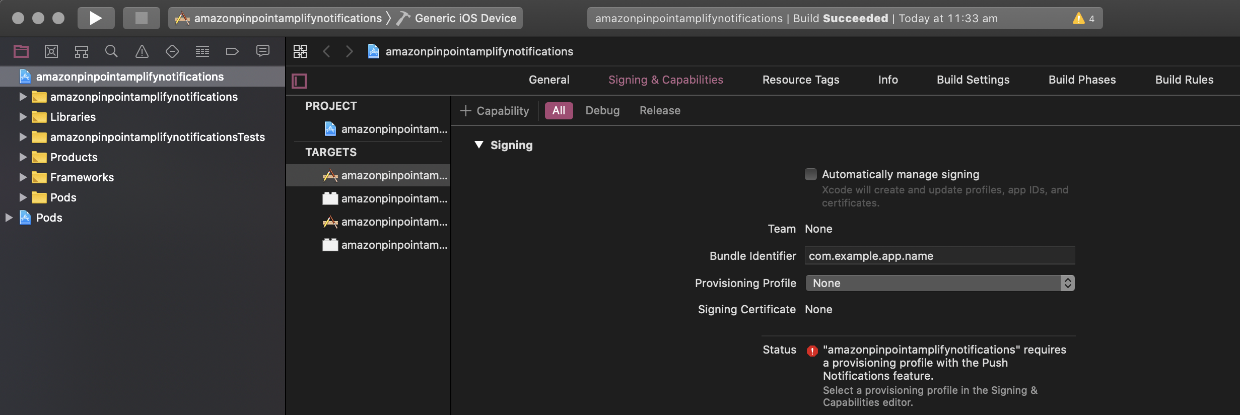 xcode project view signing tab