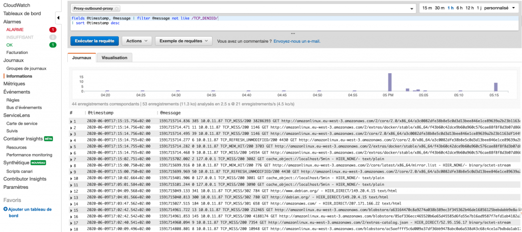 Figure 5: Analyse du journal d'accès avec CloudWatch Insight