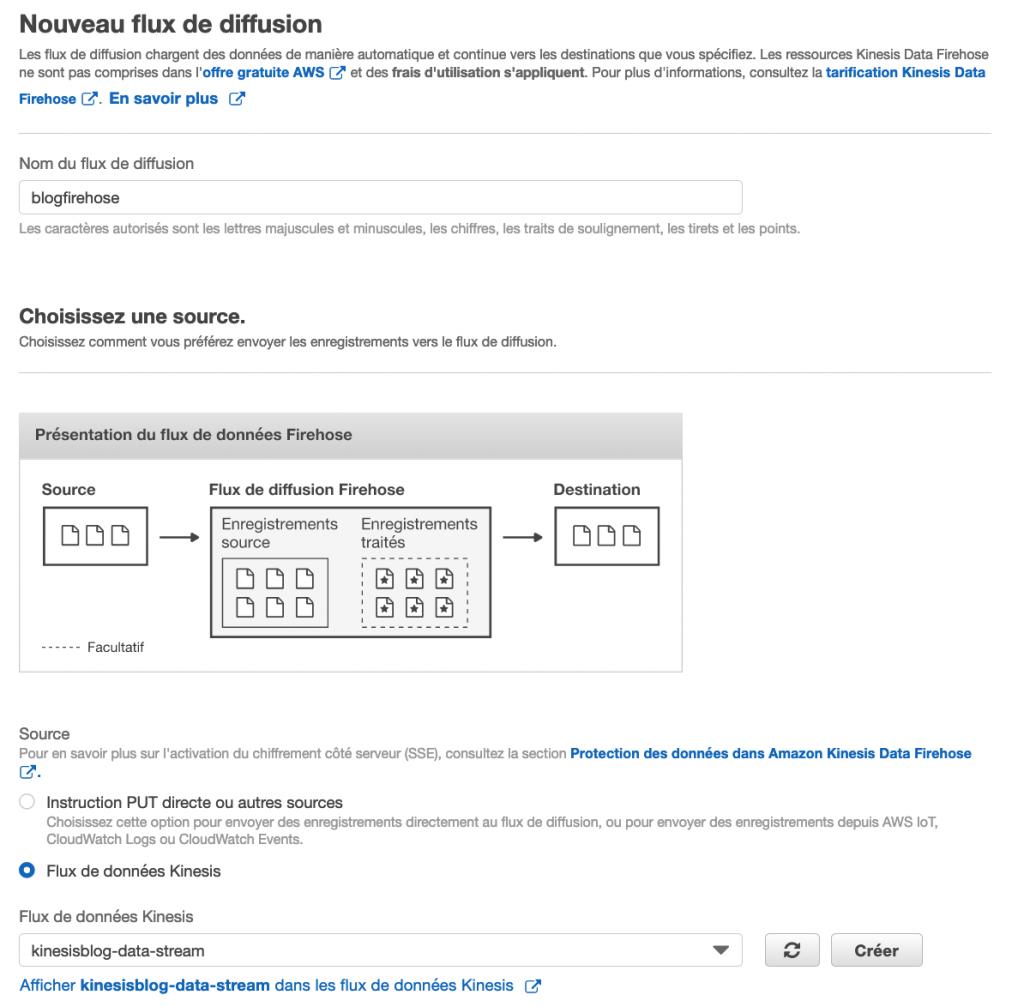 Amazon Kinesis Firehose vers Amazon S3 - AWS Console - Etape 1