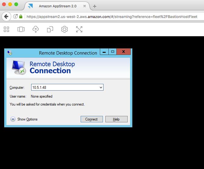 AppStream 2 - Bastion - Utilisation RDP