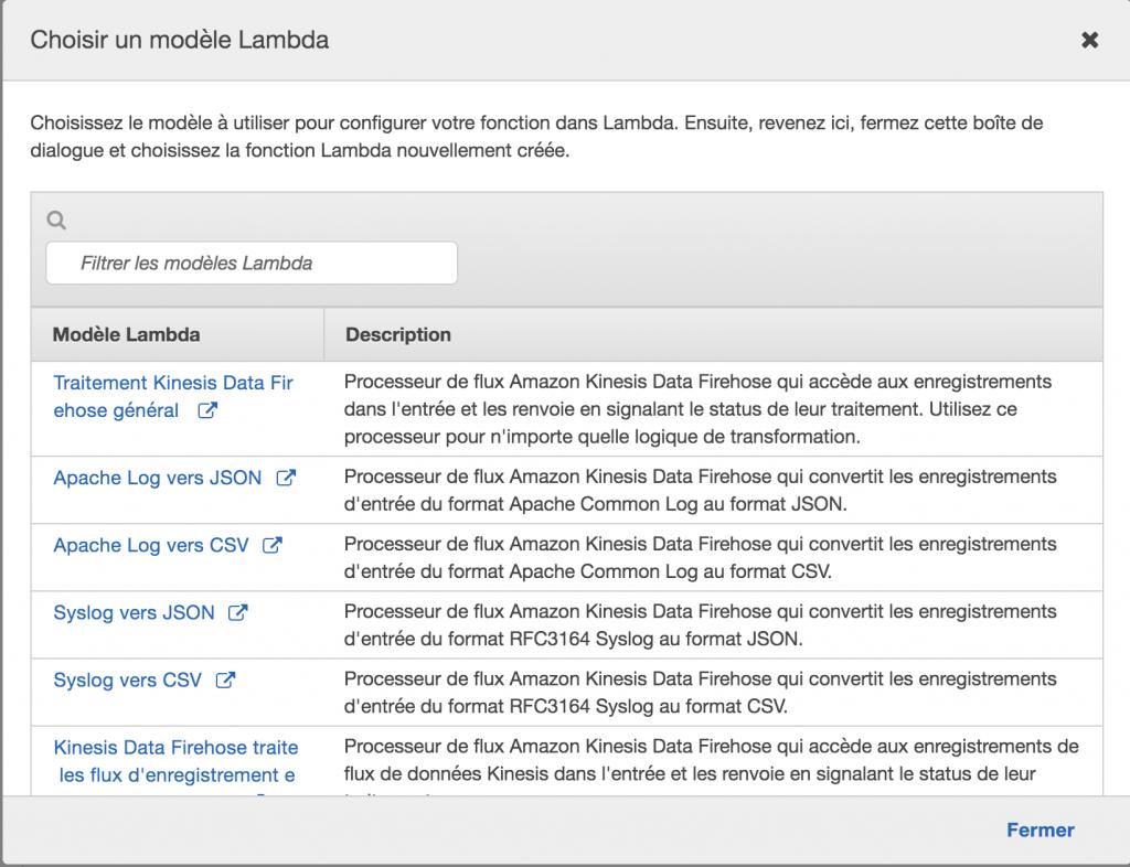 Amazon Kinesis Firehose - Modele Traitement Lambda