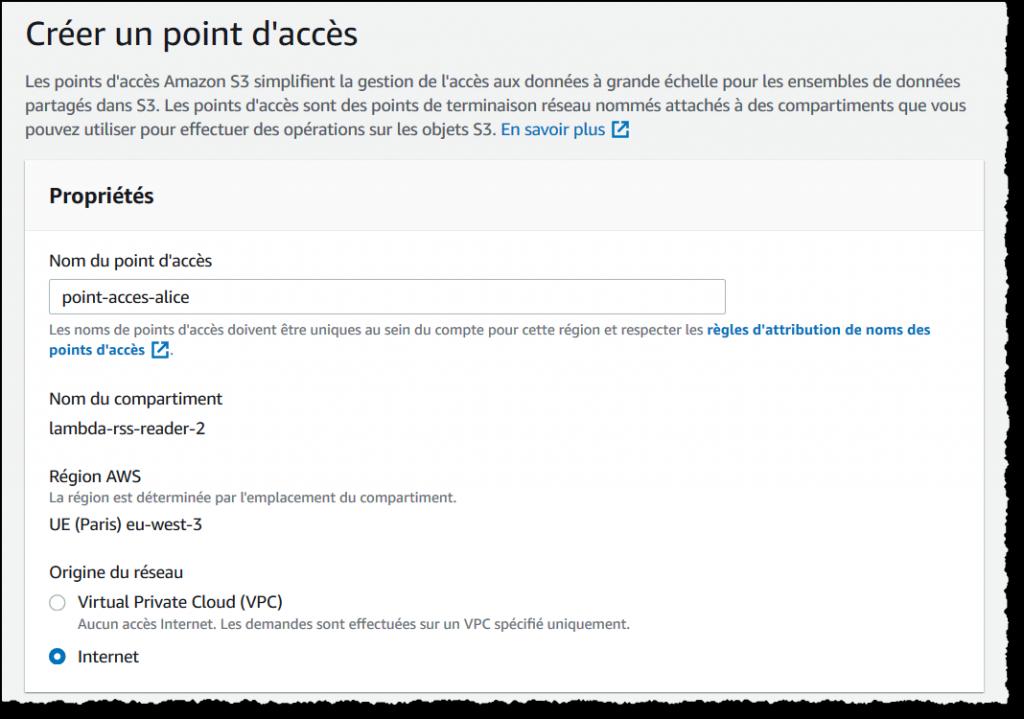 Configuration du point d'accès pour la fonction Lambda.